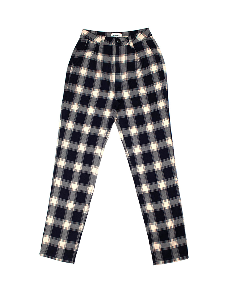 Horizon Check Pant - Navy & Cream