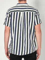 Men At Work Short Sleeve Herringbone Shirt - Natural Stripe