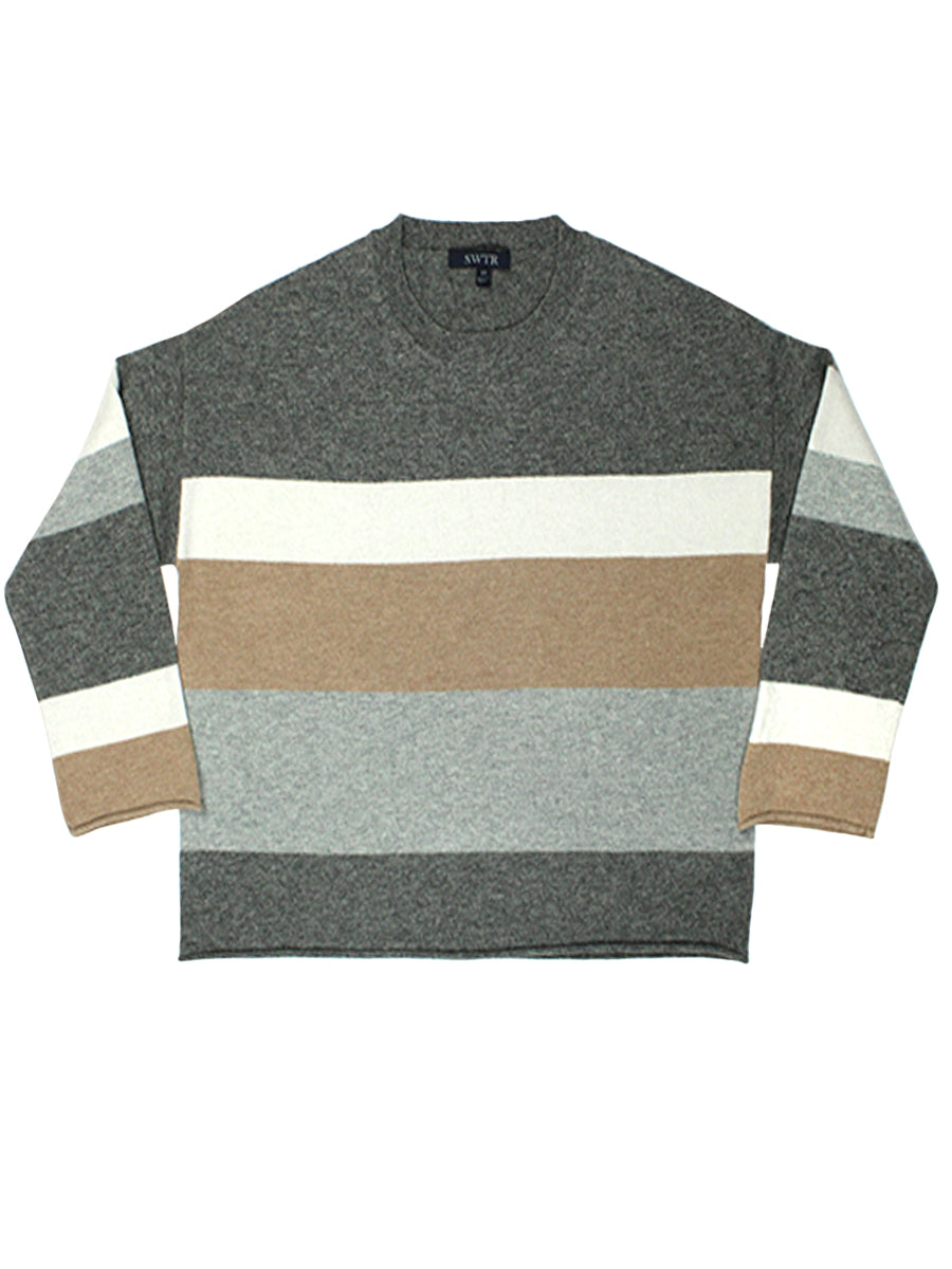 Macro Stripe Crew Sweater - Smoke Pearl Combo