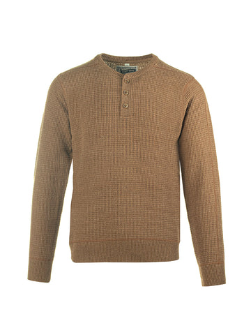 SW1611 Button Henley Sweater - Camel