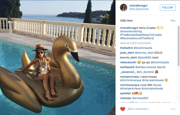 Chiara Ferragni on the FUNBOY Gold Swan Pool Float