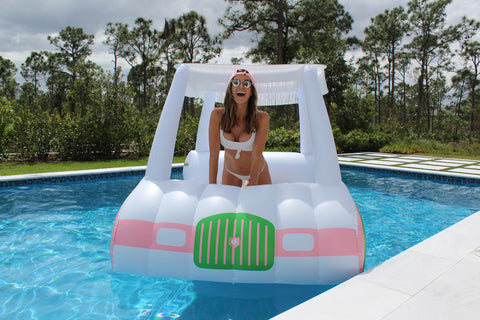 Jena Sims on the new FUNBOY luxury Golf Cart Pool Float!
