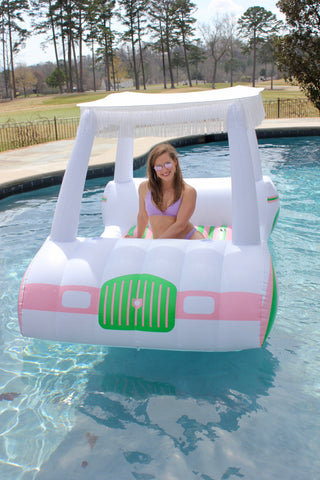 Francie Kaufman on the new FUNBOY Golf Cart Float