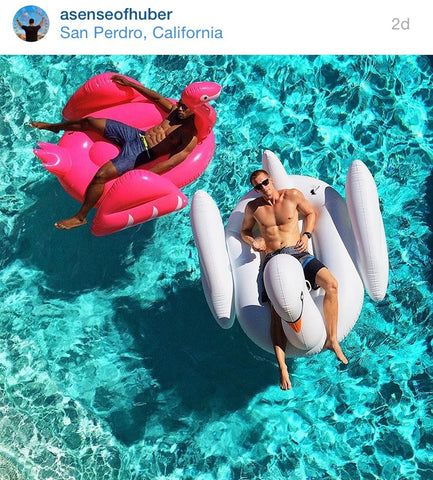 Kyle Huber and friend on the FUNBOY White Swan and Flamingo with Naila in SoCal