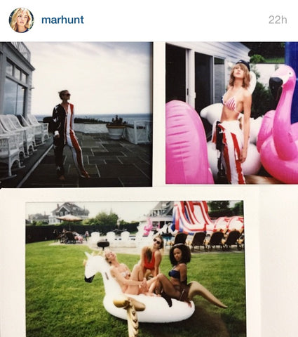 Taylor Swift, Gigi Hadid and Serayah on the FUNBOY Pegasus and Flamingo float.