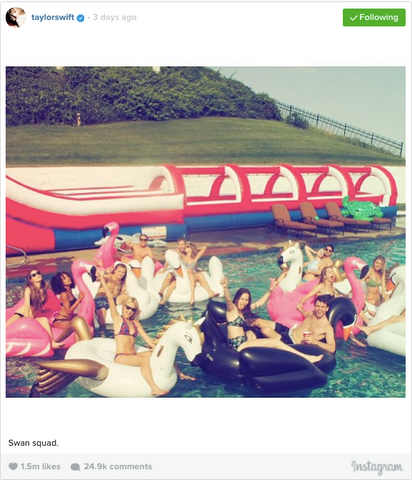 Taylor Swift in Swan float