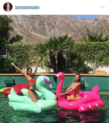 Victoria's Secret model on Coachella pool float