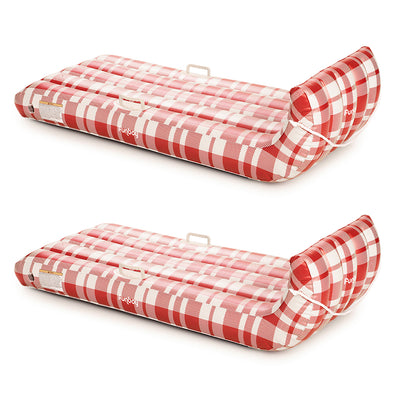 Inflatable Toboggan Snow Sled | Plaid (2 Pack)