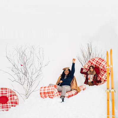Winter Plaid Toboggan Snow Sled | FUNBOY