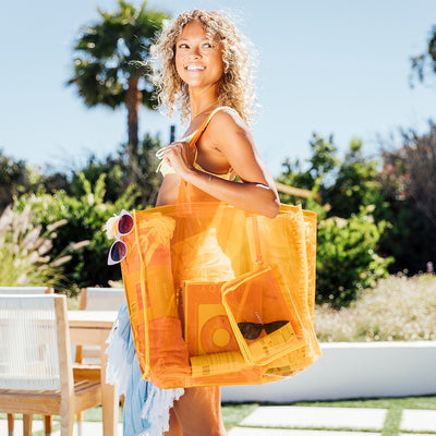 Clear Orange Beach Tote