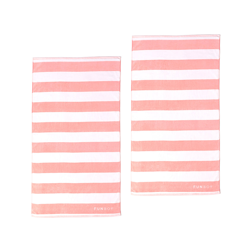 Pink Cabana Striped Beach Towel Bundle (2 Pack)