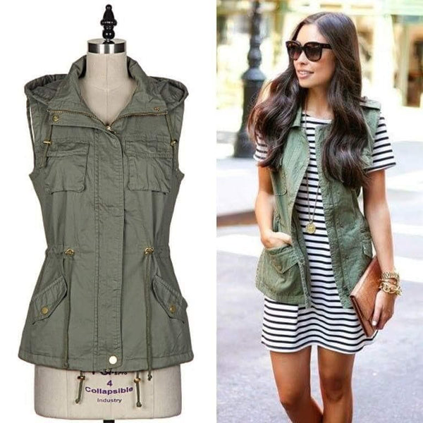 Olive You Cargo Vest & Striped Dress - Trophy Wife Boutique