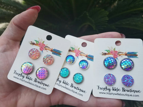 Mermaid Druzy Earring Sets