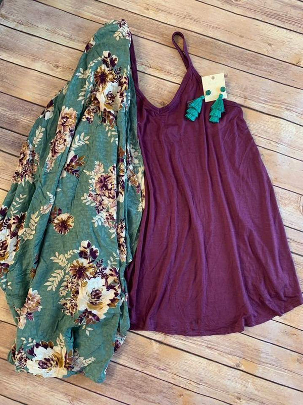 Emerald Fields Floral kimono or set (tank) - Trophy Wife Boutique