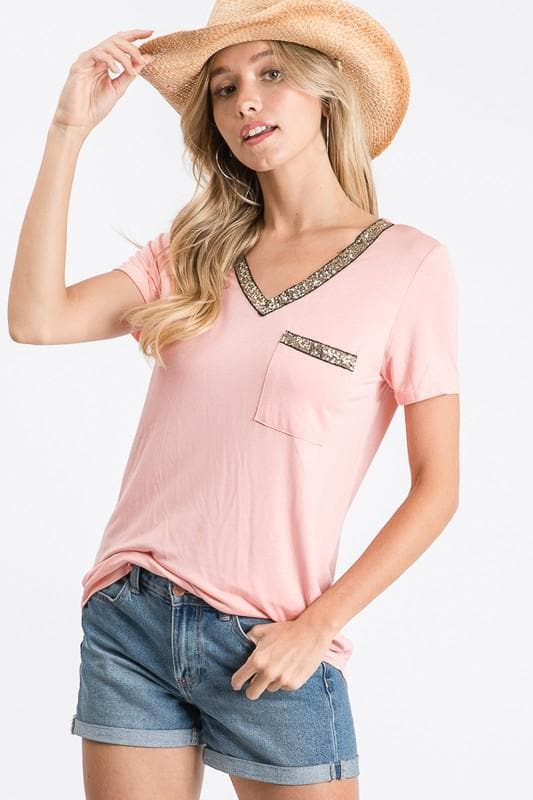 Blush Glitter Top - Trophy Wife Boutique