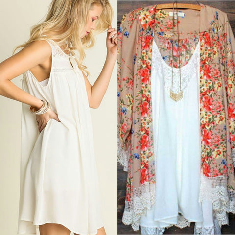 Field of Flowers Kimono and Ivory Dress Set