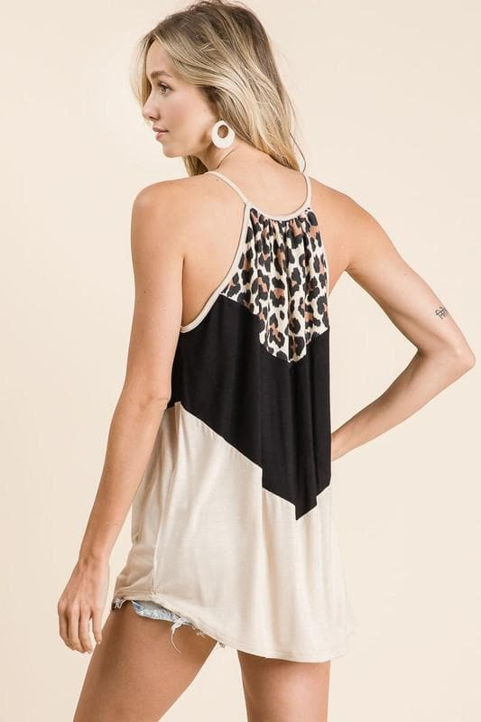Cream + Black Colorblock Leopard Tank