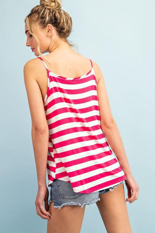 Striped Button Tank Top - Trophy Wife Boutique