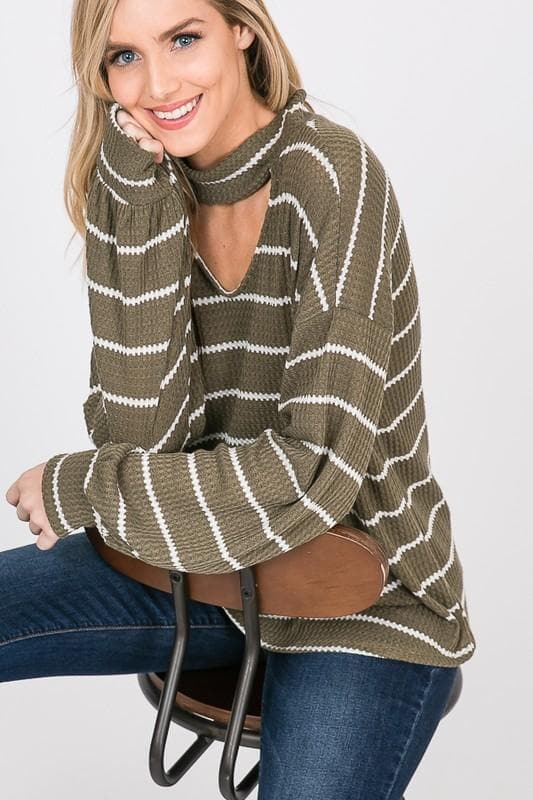 Hailey Olive Striped Top - Trophy Wife Boutique