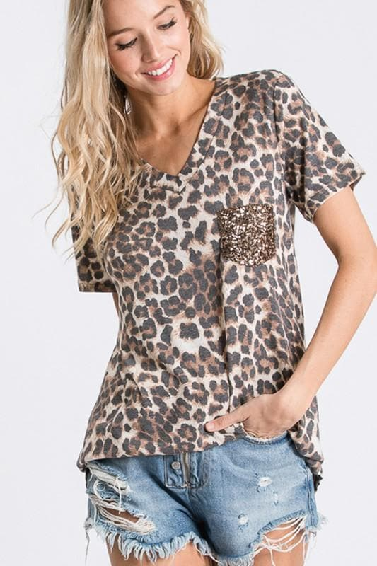 Be Wild Leopard Sequin Pocket Tee - Trophy Wife Boutique