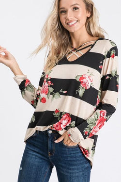Striped Floral Cage Top - Trophy Wife Boutique