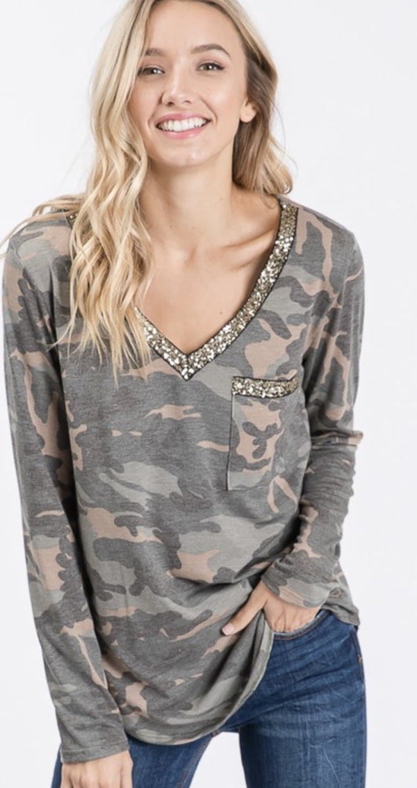 Camo Sequin Top - Trophy Wife Boutique
