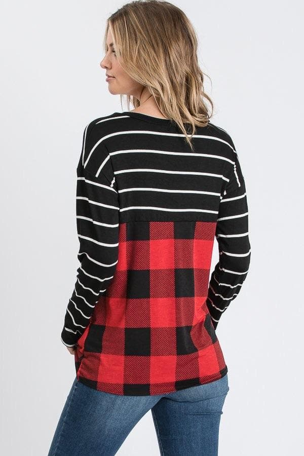 Buffalo Plaid Stripe Sequin Pocket Top