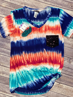 Luna Tie Dye sequin pocket tee