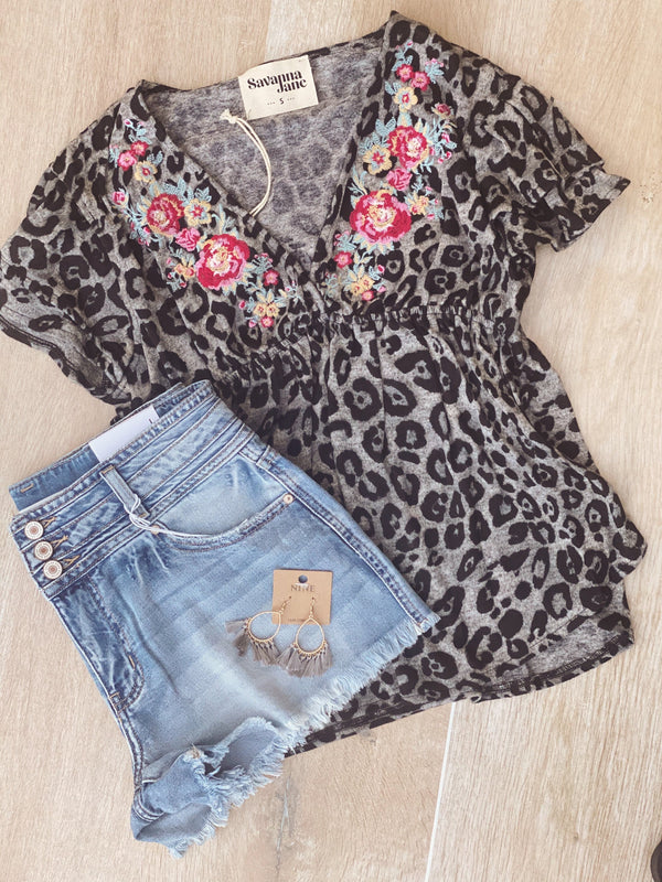 Aria Leopard Embroidered Top