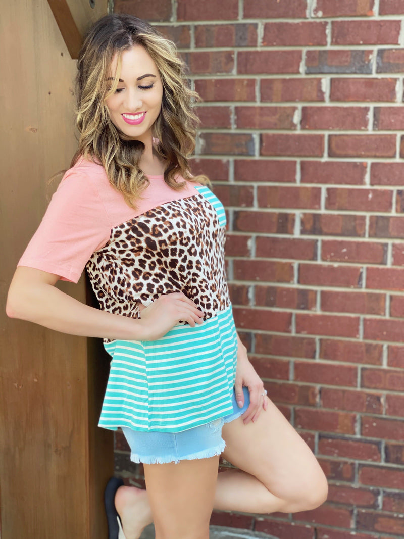 Allison Leopard Colorblock Top