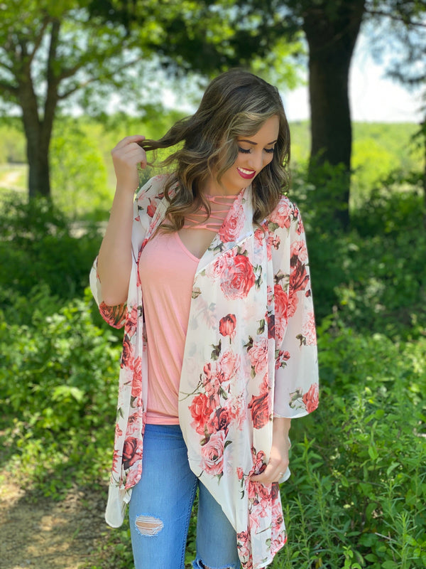 Ivory Coral Floral kimono or set - Trophy Wife Boutique