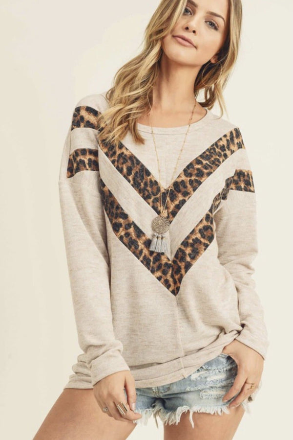 Oatmeal Leopard Striped Top