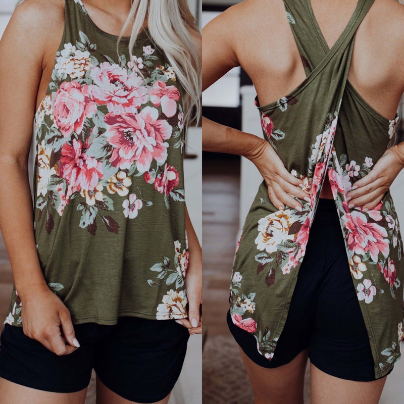 Olive Floral Criss Cross Tank - Trophy Wife Boutique