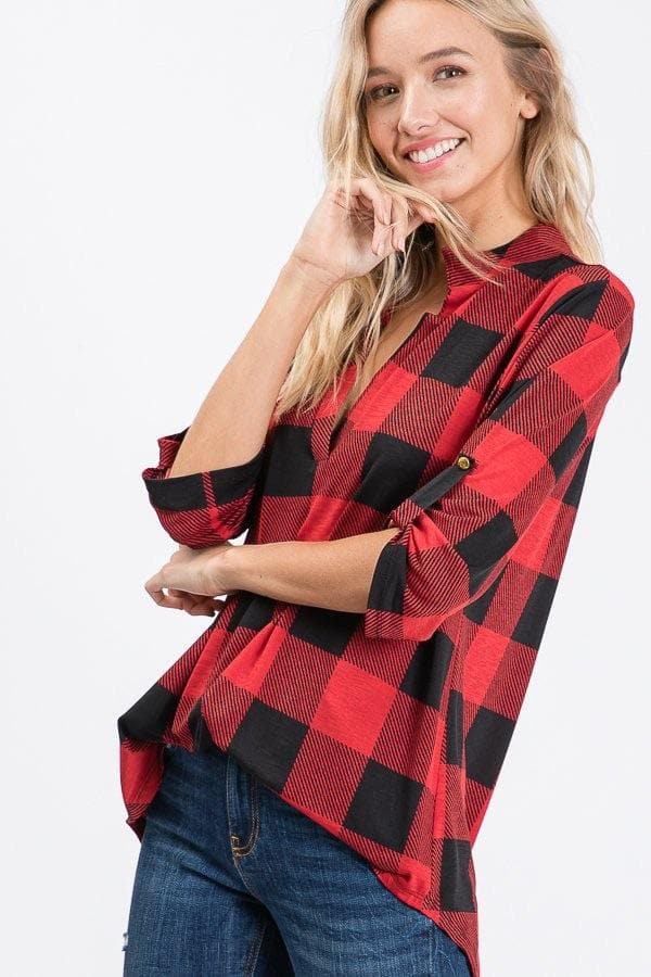 Sunday Buffalo Plaid Top