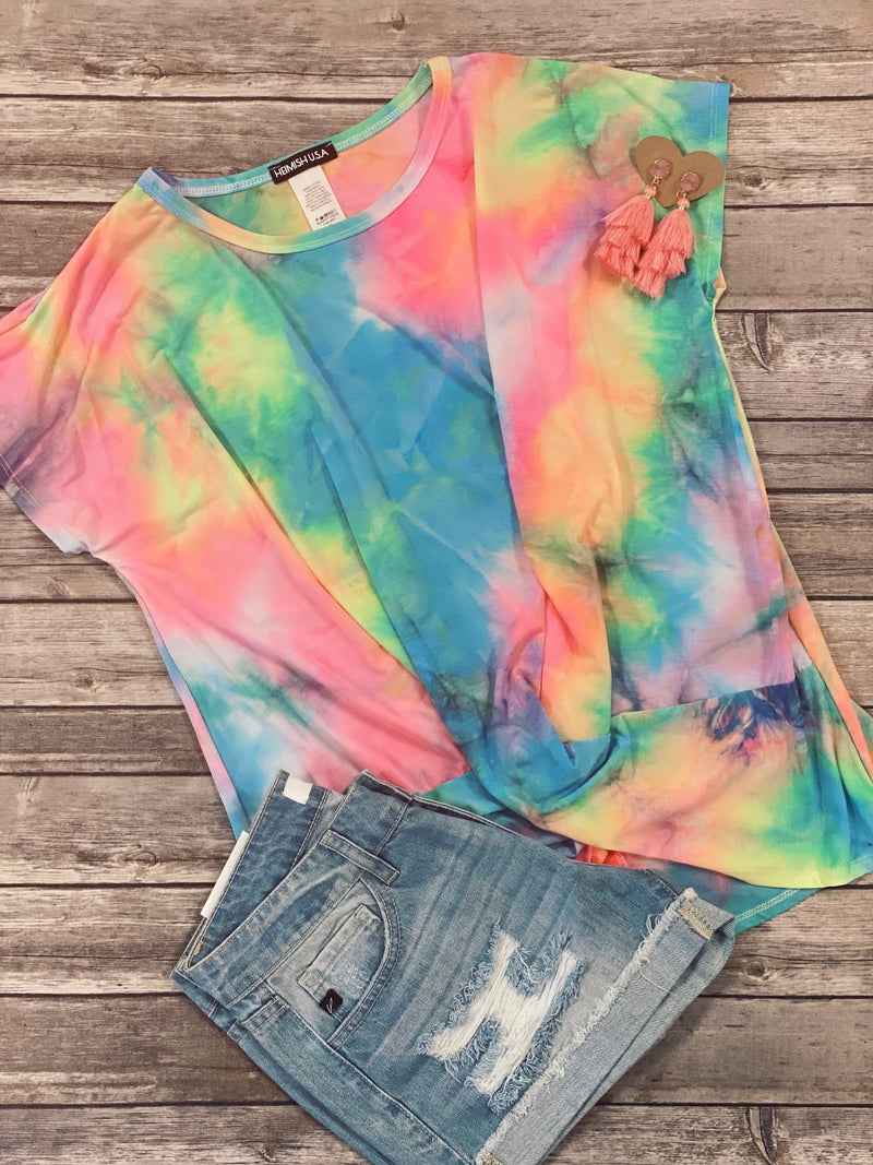 Neon Lights Tie Dye Twist Top