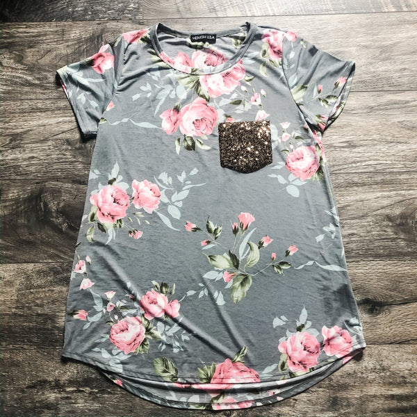 Gray roses sequin pocket tee
