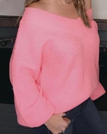 Pink Hearts Waffle Sweater