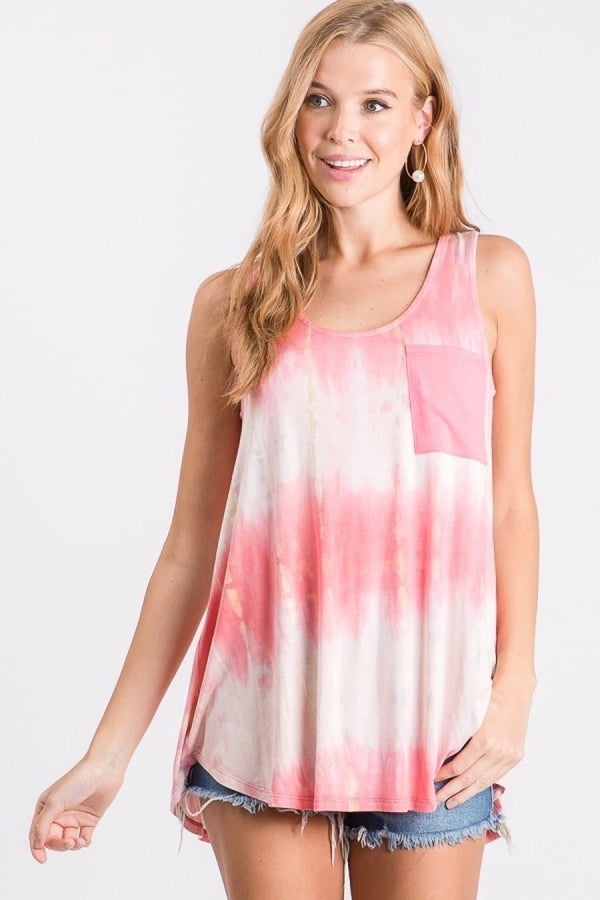 Bubblegum Tie Dye Pocket Tank