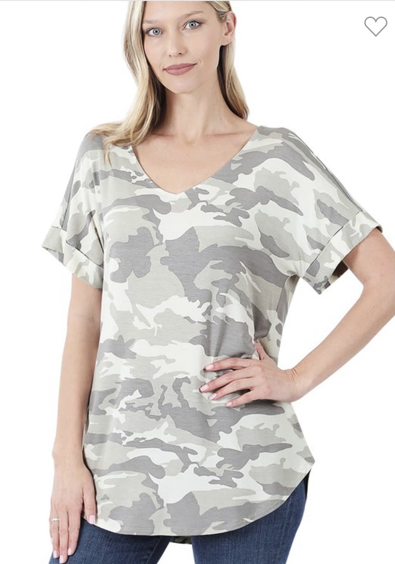 Light Camo Rolled Sleeve Tee