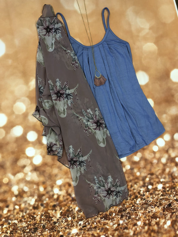 Mauve Blue Bull Floral Kimono Set - Trophy Wife Boutique