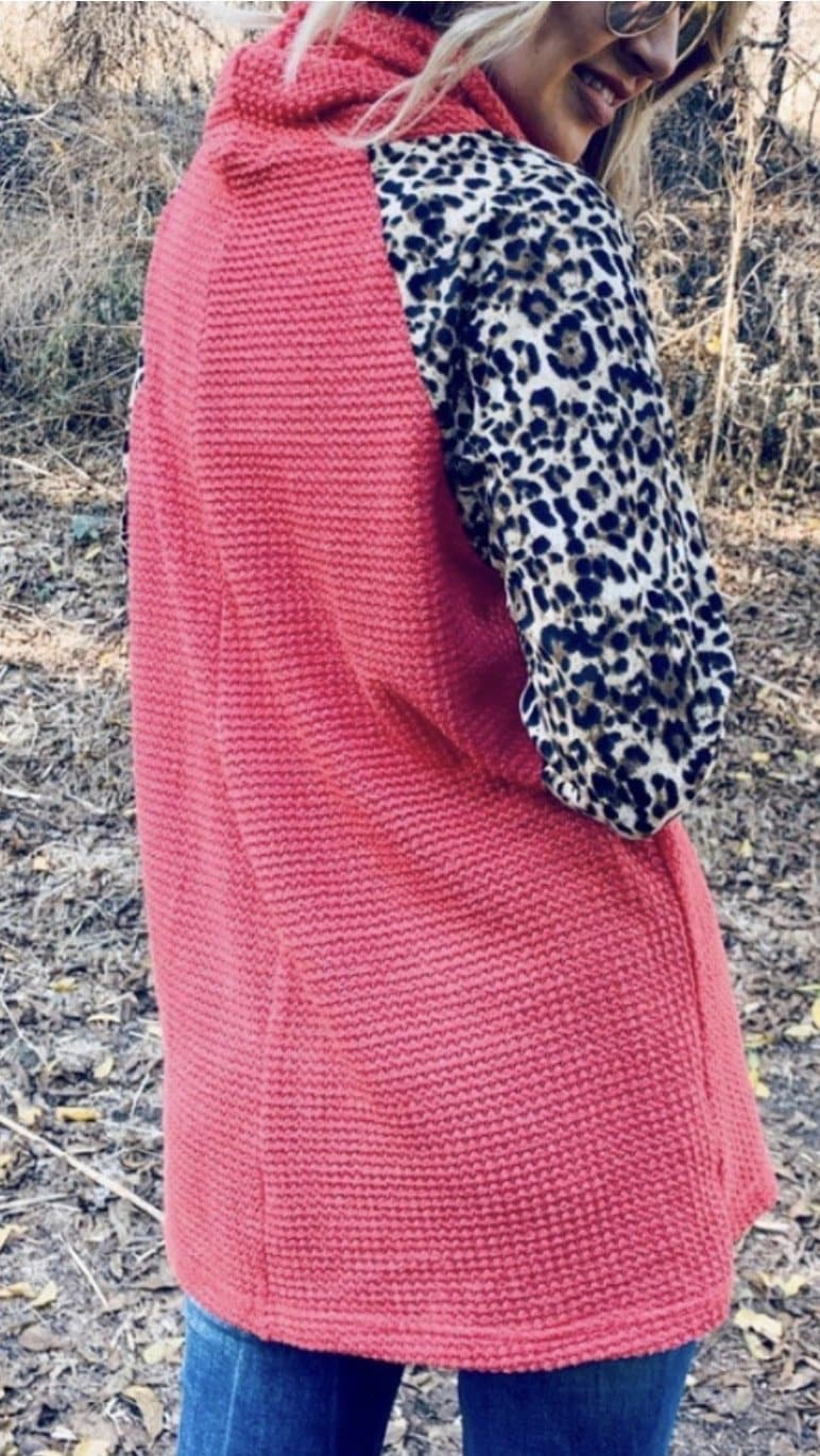 Coral Leopard Thermal Pullover - Trophy Wife Boutique