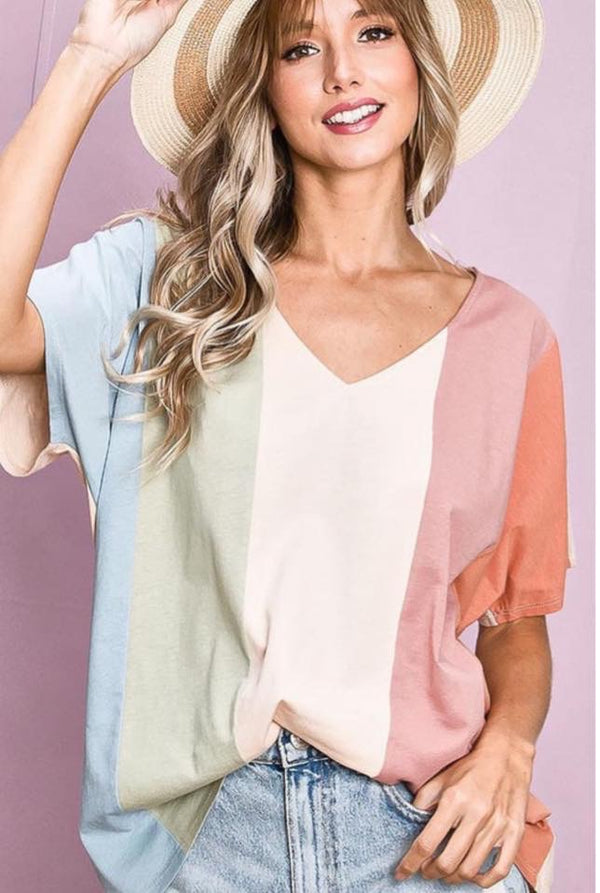 Julie Colorblock Striped Top