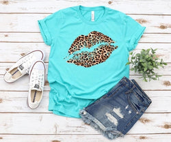 Teal Leopard Lips Tee - Trophy Wife Boutique