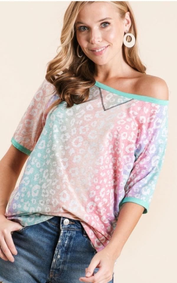 Rainbow Ombre Leopard Top