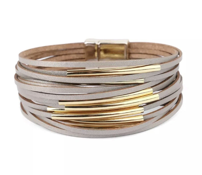 Shimmer Leather Bracelet Wraps WS