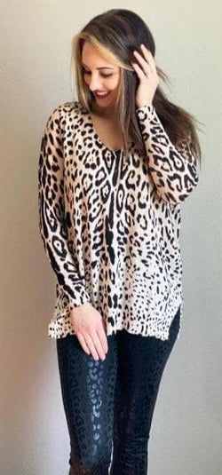 Creamy Black Leopard Sweater
