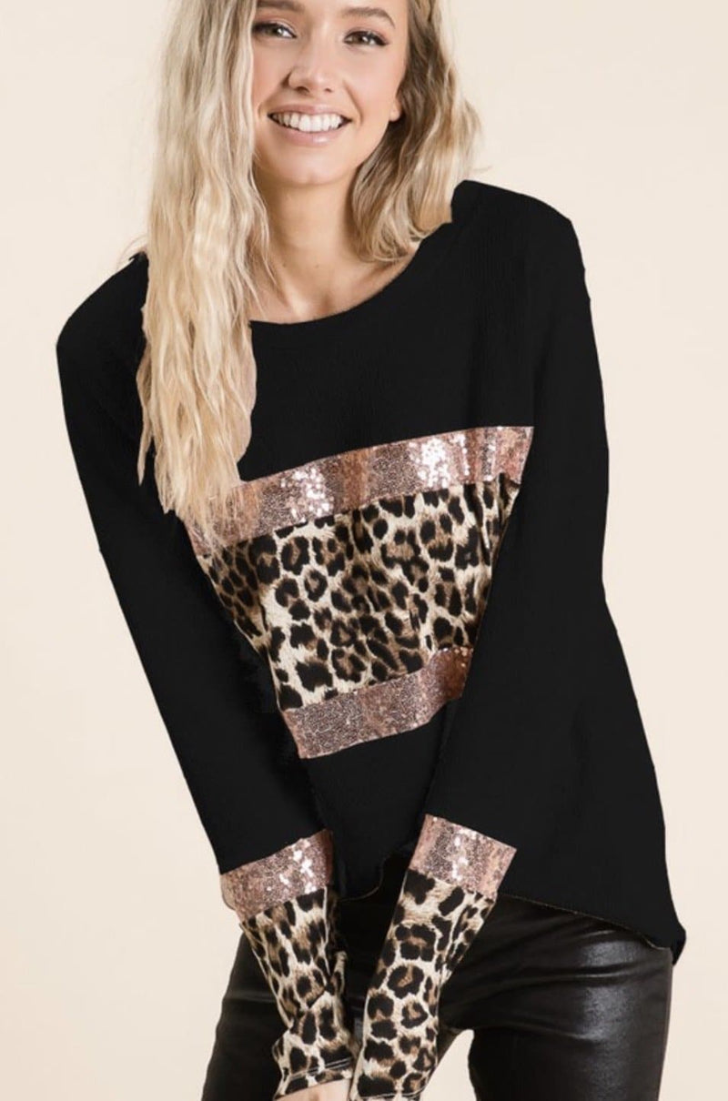 Leopard Sequin Block top - Black