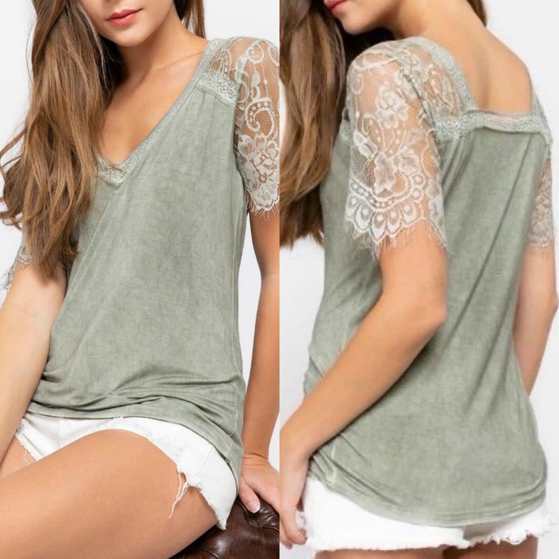 Eyelash Lace Tee Sage - Trophy Wife Boutique