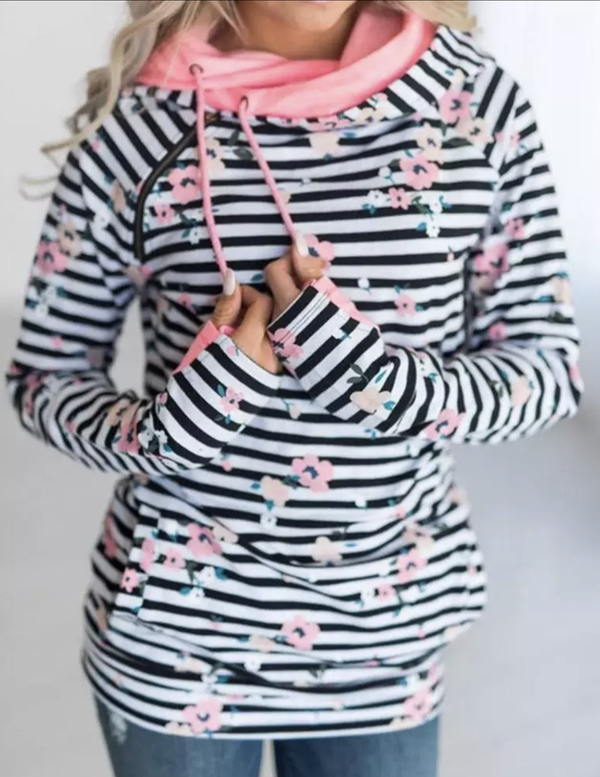 Spring Floral Striped Double Hoodie - Trophy Wife Boutique