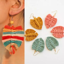 Macrame Leaf Earrings - Trophy Wife Boutique